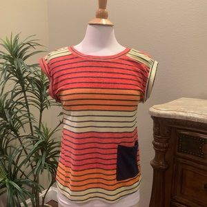 Vintage Havana Striped Pocket Tee Shirt Small